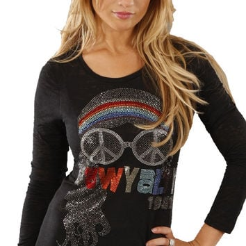 Rawyalty 1969 Rock Girl Burnout Tee in Black