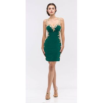 Lace Applique Sweetheart Neckline Bodycon Short Prom Dress Hunter Green/Gold
