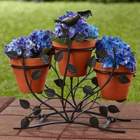 3-Pot Horizontal Metal Plant Stand Branches Leaves Bird Theme Porch Home Decor