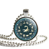 Zodiac Pendant , Astrological Sign Pendants- Blue and Red- Choose your Zodiac Sign