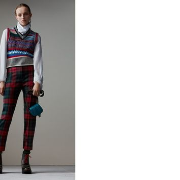 Tartan Wool High-waisted Trousers in Bright Red - Women | Burberry United States