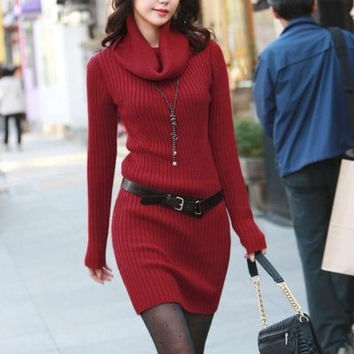 Stylish Women's Long Warm-keeping Woolen Dress - Available 3 Great Colors!