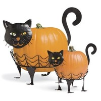 Plow & Hearth Set Of 2 Cat Pumpkin Holders With LED Eyes