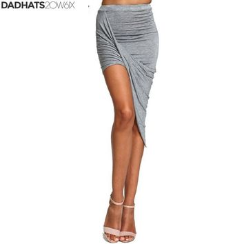 2018 Summer Women Skirt Hem Cross Fold Sexy Wrap Banded Waist Draped women skirt Cut Out Asymmetrical Pencil Skirts XS-XXXL 504