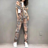 """Burberry"" Women Temperament Casual Multicolor Tartan Short Sleeve Shawl T-shirt Leisure Pants Trousers Set Two-Piece"