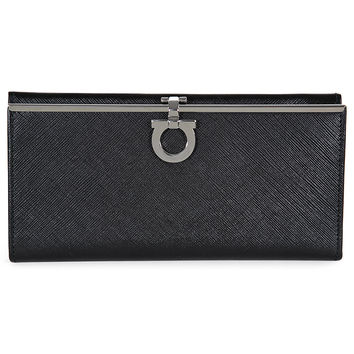 Ferragamo Continental Leather Wallet - Black