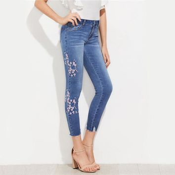 Blue Cherry Blossom Embroidered Slashed Hem Jeans Autumn Mid Waist Skinny Jeans