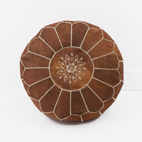 Moroccan Leather Pouf, Natural