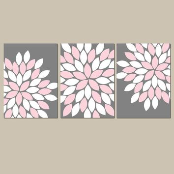 PINK GRAY Wall Art,  Flower Nursery Art, Pink Gray Bedroom Pictures, CANVAS or Prints, Floral Bathroom Decor, Floral Home Decor, Set of 3