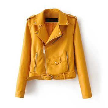 2 Candy Colors Wide Lapel PU Leather Biker Bomber Jacket Motorcycle Zipper Pockets New Punk Coat