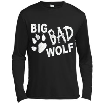 Big Bad Wolf Paw Distressed White Funny Novelty Long Sleeve Moisture Absorbing Shirt