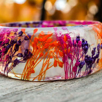 Botanical bracelet Woodland bangle Bohemian Modern resin bangle flower bangle Boho style enchanting bracelet