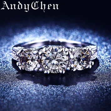 Clear Round Crystal Jewelry Silver Color Wedding Rings for Women