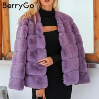 BerryGo Elegant new fashion women faux fur coat 2018 thick fluffy warm outwear jacket coat Autumn winter casual party overcoat