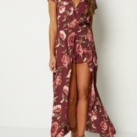 Burgundy Floral Surplice Maxi Romper | Jumpsuits & Rompers | rue21