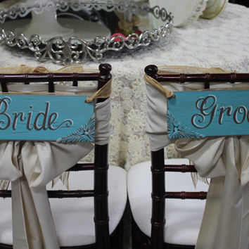 4x12 Custom-Hand Painted-Shabby Chic-Cottage Chic-Vintage-Wood-Bride And Groom Chair Signs-Photo Prop-Wedding Reception Sign Decoration