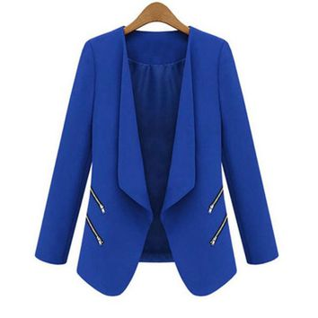 DCCKL3Z Cozy Women OL Long Sleeve Slim Lapel Blazer Suits Jackets Casual Open Coats Blazers Outwear Terno 3 Colors