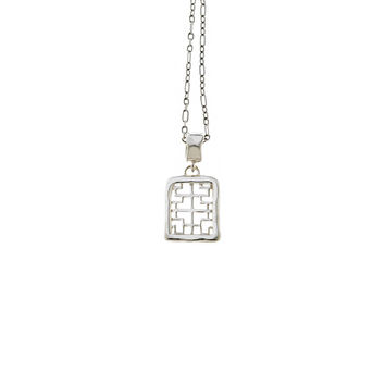 Mystical Pagoda Square Sterling Silver Necklace