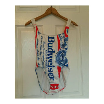 Vintage 80s Budweiser high cut one piece bathing suit- 80s Budweiser girl swimsuit