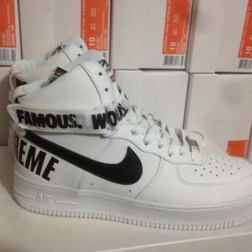 Nike Air Force 1 Supreme x  White For Women Men Running Sport Casual Shoes Sneakers