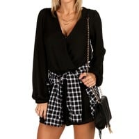Sale-black Long Sleeve Romper