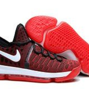VAWA Nike Men's Durant Zoom KD 9 Knit Mid-High Basketball Shoes Wine Red