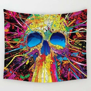 Abstract Skull Trippy Tapestry Psychedelic Tapestry Wall Hanging, 59x51in