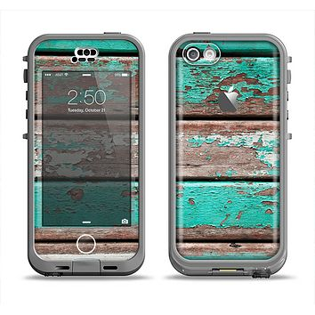 The Chipped Teal Paint On Wood Apple iPhone 5c LifeProof Nuud Case Skin Set