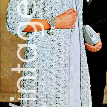1960s CROCHET PATTERN Silver Lace Coat Instant Download Pdf USA Pattern Night Dazzling Lace Coat especially special events New Year's Eve