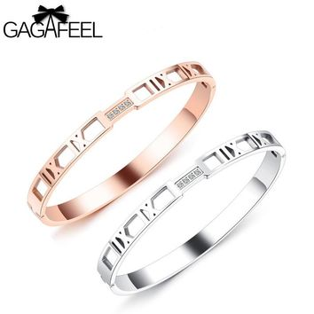 Gagafeel Stainless Steel Bangle Roman Numerals Rose Gold Color Hollow Bracelet