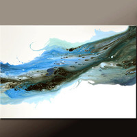 Abstract Canvas Art Painting 36x24 Original Blue Contemporary Paintings by Destiny Womack - dWo - When Skies are Gray