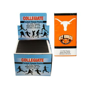 Texas Longhorns Pocket Tissues Countertop Display Case Pack 48