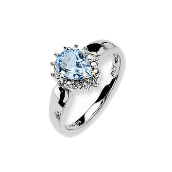 925 Sterling Silver Pear Prongs Blue Topaz and Diamond Ring: Diamond & Blue Topaz Ring in Sterling Silver - Pear Shape - Eye-Popping