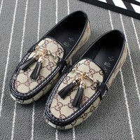 GUCCI Summer Women Personality GG Letter Print Sing Shoe Tassel Bean Shoe Flat Canvas Shoes Sandals Beige