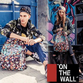 VansFashion Personality printing large capacity backpack bag leisure travel boom Colorful flowers 8 style