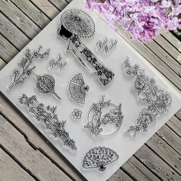 DIY Japanese Style Fans Geisha Girl Clear Stamp Scrapbook Photo Cards Rubber Seal Stamp Transparent Silicone Transparent