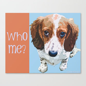 "Who Me - Dachshund (Dog) Pop Art Print Photography Orange, Nectarine, Light Sky Blue, Lilac - (9"" x 8"") - Wall Art Home Decor, Wiener Dog"