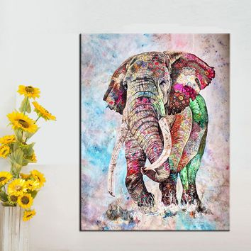 QKART Wall Art Decor Elephant Posters and Prints Oil Painting on Canvas Art Prints Wall Pictures for Living Room Canvas Painting