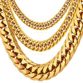 U7 Hip Hop Chains For Men Jewelry Wholesale Yellow Gold Color Thick Stainless Steel Long Big Chunky Hippie Rock Necklace N453