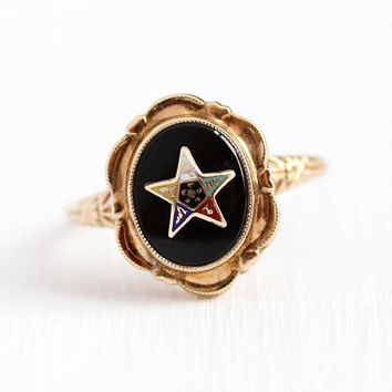 Vintage OES Ring - 10k Rosy Yellow Gold Order of the Eastern Star Black Onyx Statement - 1930s Size 6 1/4 Masonic Enamel Flower Fine Jewelry