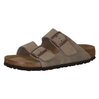 Birkenstock Arizona Soft Footbed Taupe Suede Leather Narrow Sandals Size 8