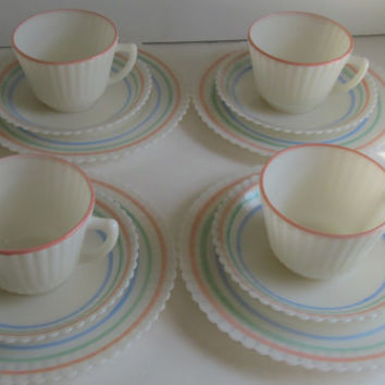 4 place setting Macbeth-Evans Petalware Pastel Stripes Plate Saucer Collection Pastel Opalescent Glass Ruffle Edge White Wedding Table Decor