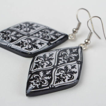 Handmade polymer clay decoupage earrings with black and white fancy ornament