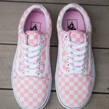 VANS Pink Checkerboard Old Skool Sport Shoes Sneakers