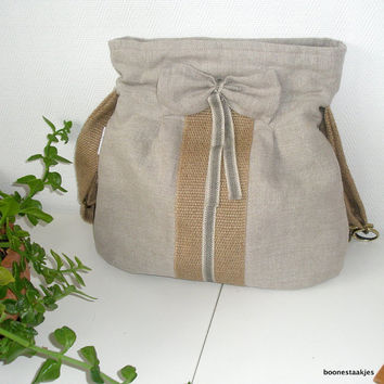 linen cross body/shoulderbag with burlap by boonestaakjes on Etsy