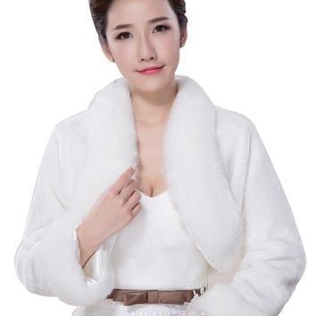 In Stock Wedding Accessory Faux Fur Black White Custom Made Bridal Coat Wedding Bolero Stoles Jacket Shrug Wraps LF50