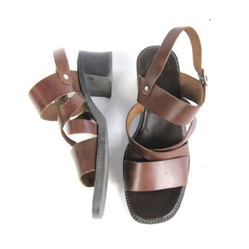 90s Chunky Heel Sandals Brown Leather Sandals Cross Strap Strappy Heeled Sandals Open Toe Minimal Sandals Boho Slingback Sandals Size 7