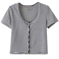 Striped Short Sleeve Cropped Tee
