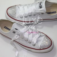 Converse All Star Chucks Adult Sizes White w CRYSTAL clear Swarovski Elements