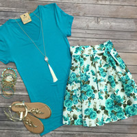 Basic V-Neck Tee: Teal